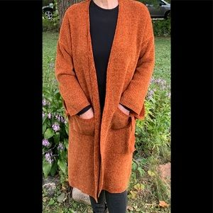 Forever 21 coral/brown long knitted cardigan, S